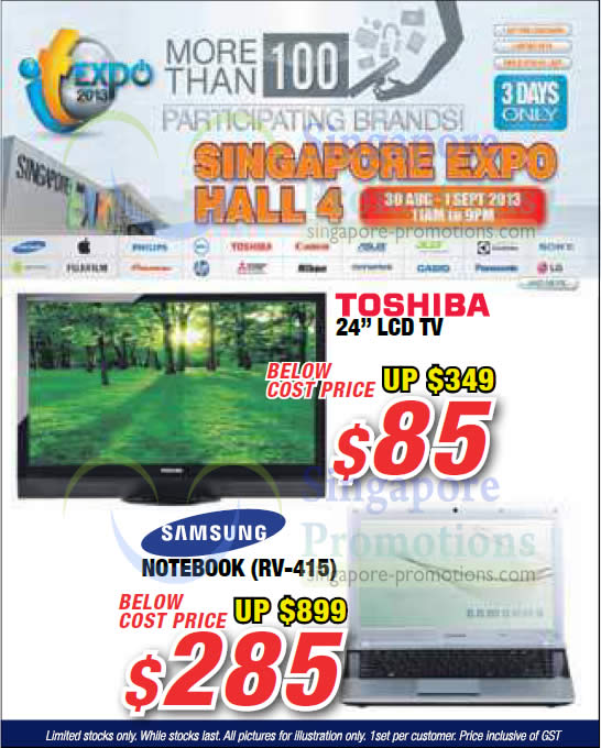 Toshiba 24 LCD TV, Samsung Notebook RV-415