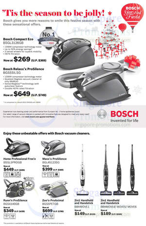 Bosch Vacuum Cleaners Promo Offers 18 Oct 2013 5 Jan 2014
