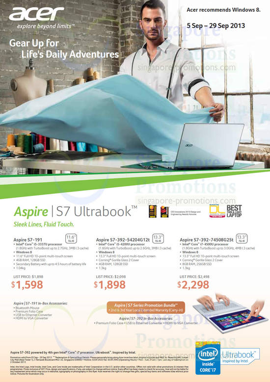 Acer S7-191 Notebook, Acer S7-392-54204G12T Notebook and Acer S7-392-74508G25T Notebook