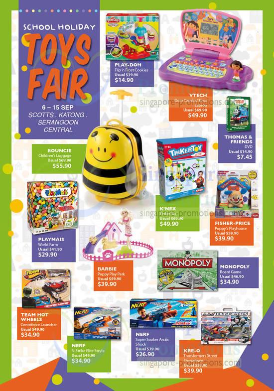 PLAY-DOH Flip'n Frost Cookies, VTECH Dora Carnival Time Laptop, THOMAS & FRIENDS DVD, BOUNCIE Children's Luggage, K'NEX TinkerToy, FISHER-PRICE Puppy's Playhouse, MONOPOLY Board Game, BARBIE Puppy Play Park, PLAYMAIS World Farm, TEAM HOT WHEELS Centriforce Launcher, NERF N-Strike Elite Stryfe, NERF Super Soaker Arctic Shock, KRE-O Transformers Street Showdown,