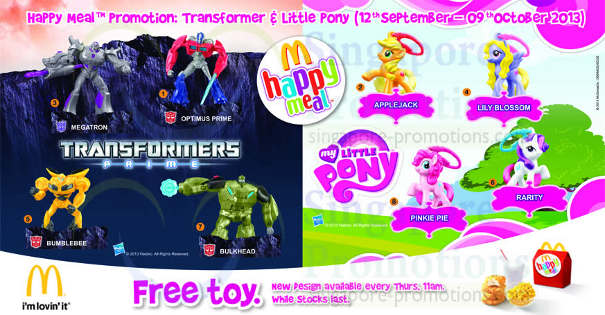 My Little Pony Toy Food : Mcdonald s free transformers my little pony toy promo