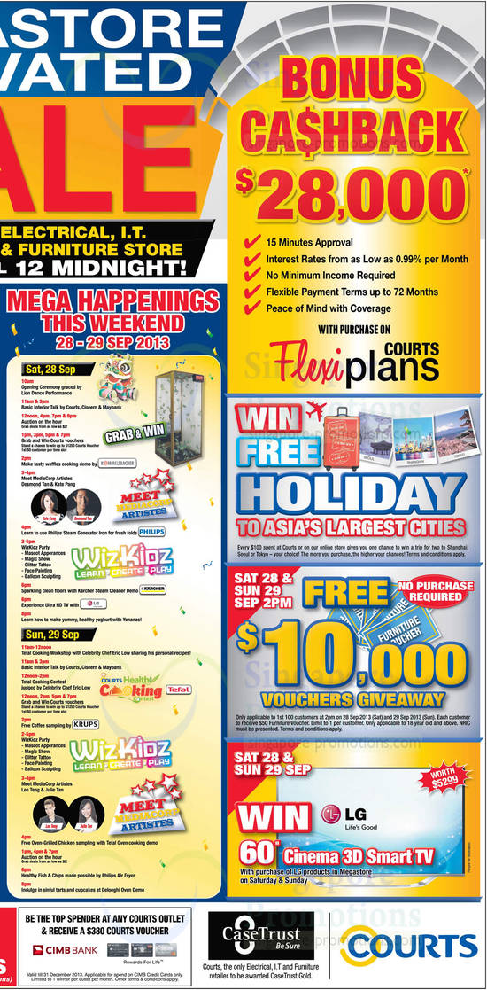 Mega Happenings Schedule, Bonus Cashback, Win Free Holiday