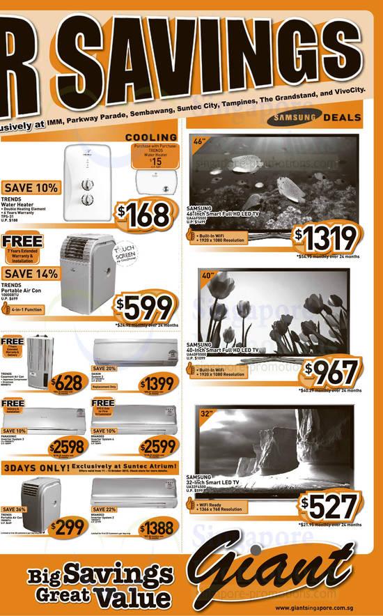 Trends TPS-31 Water Heater, Samsung UA46F5500 TV, Samsung UA40F5500 TV and Samsung UA32F4500 TV