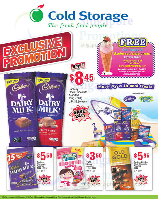 Chocolates Cadbury, Free Andersens Ice Cream Scoop With 10 Dollar Purchase