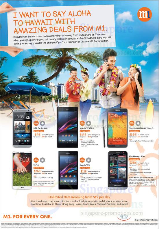 HTC Desire 601, Sony Xperia Z Ultra, Samsung Galaxy Note 3, LG G2, Sony Xperia Z1, Blackberry Z30
