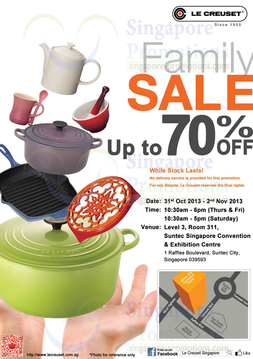 le creuset 28 oct 2013 le creuset family sale up to 70 off suntec 31 oct 2 nov 2013. Black Bedroom Furniture Sets. Home Design Ideas