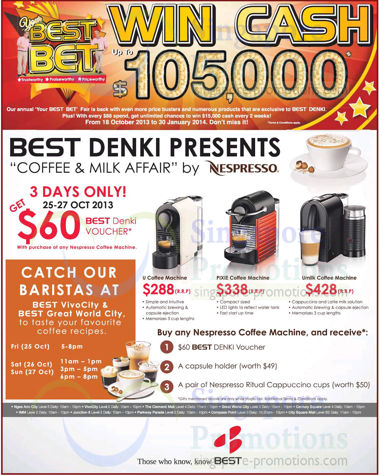 nespresso coffee machines promo best denki tv appliances other electronics offers 25 28. Black Bedroom Furniture Sets. Home Design Ideas