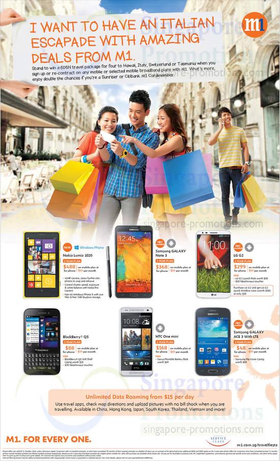 Nokia Lumia 1020, Samsung Galaxy Note 3, Samsung Galaxy Ace 3, LG G2, Blackberry Q5, HTC One Mini