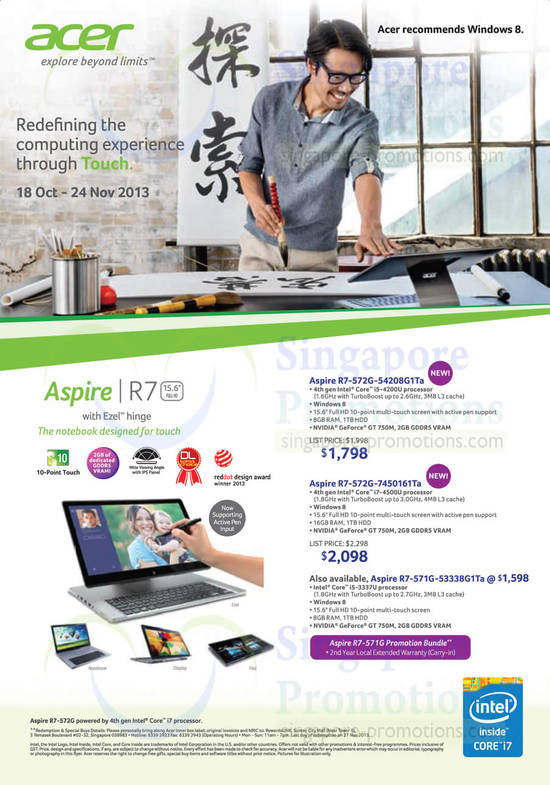 Acer R7-572G-54208G1TA Notebook, Acer R7-572G-7450161TA Notebook and Acer R7-571G-53338G1TA Notebook