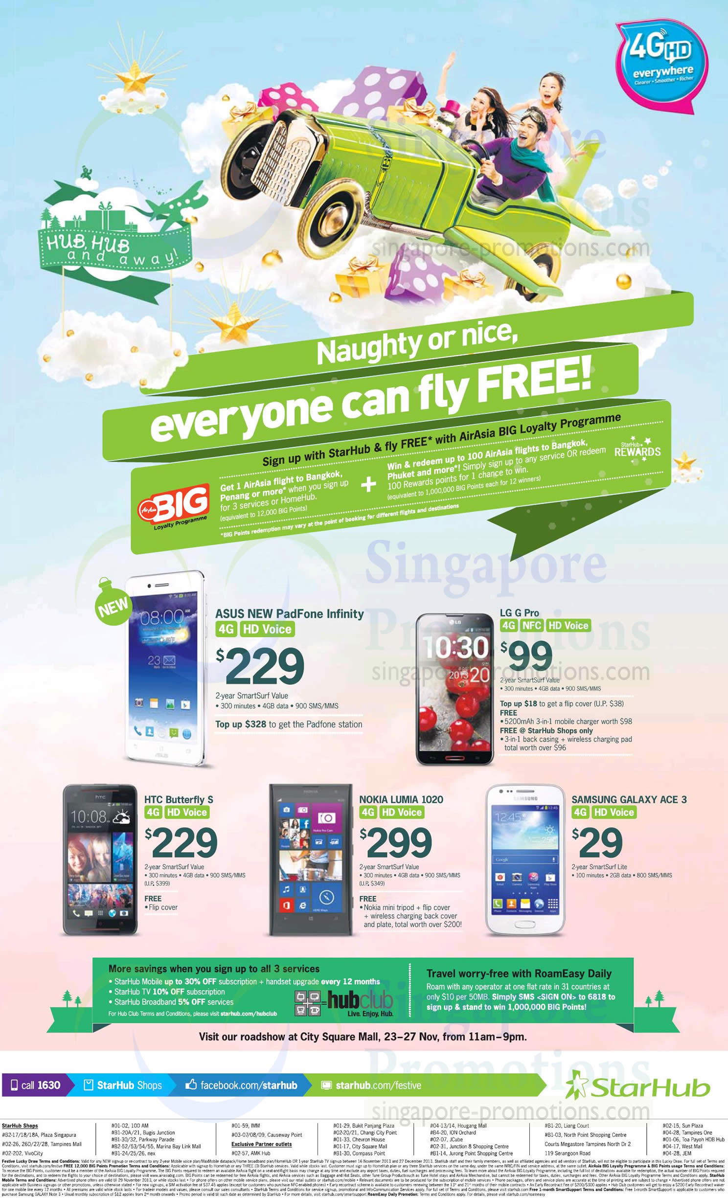 ASUS Padfone Infinity, LG G Pro, HTC Butterfly S, Nokia Lumia 1020, Samsung Galaxy Ace 3, Roadshow