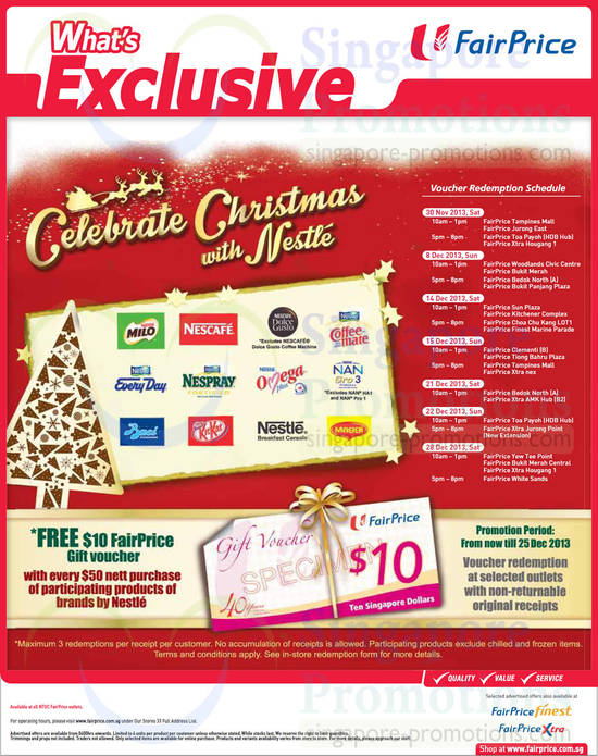 Christmas with Nestle, Free 10 Dollar Gift Voucher with 50 Dollar Nestle Purchase