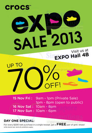 52ea02a03f0f15 Crocs Expo SALE Up To 70% Off   Singapore Expo 15 – 17 Nov 2013