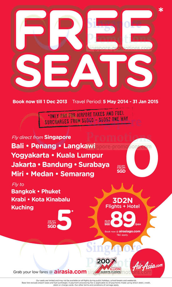 Free Seats Promo, Holiday Packages