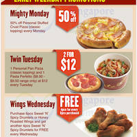Pizza Hut Delivery Takeaway Mon Wed Promos 11 Nov 2013