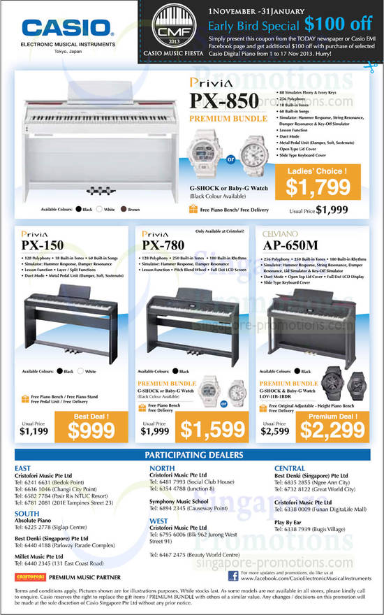 Privia Pianos Offers, Participating Dealers