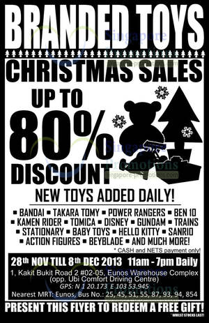 Featured image for Branded Toys Warehouse SALE Up To 80% Off 28 Nov – 8 Dec 2013