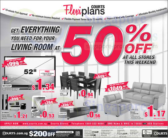 Courts massive sale all outlets 9 10 nov 2013 for Living room 50 off january