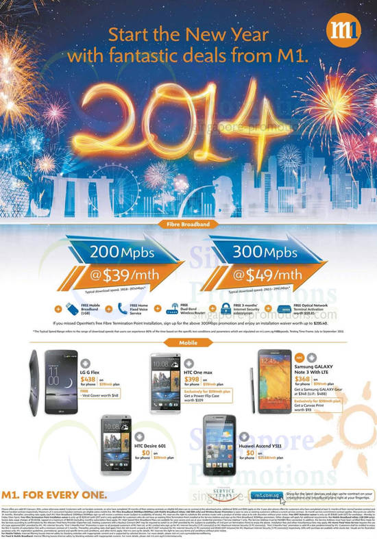 Fibre Broadband 200Mbps 39.00, 300Mbps 49.00, LG G Flex, HTC One Max, Samsung Galaxy Note 3, HTC Desire 601, Huawei Ascend Y511