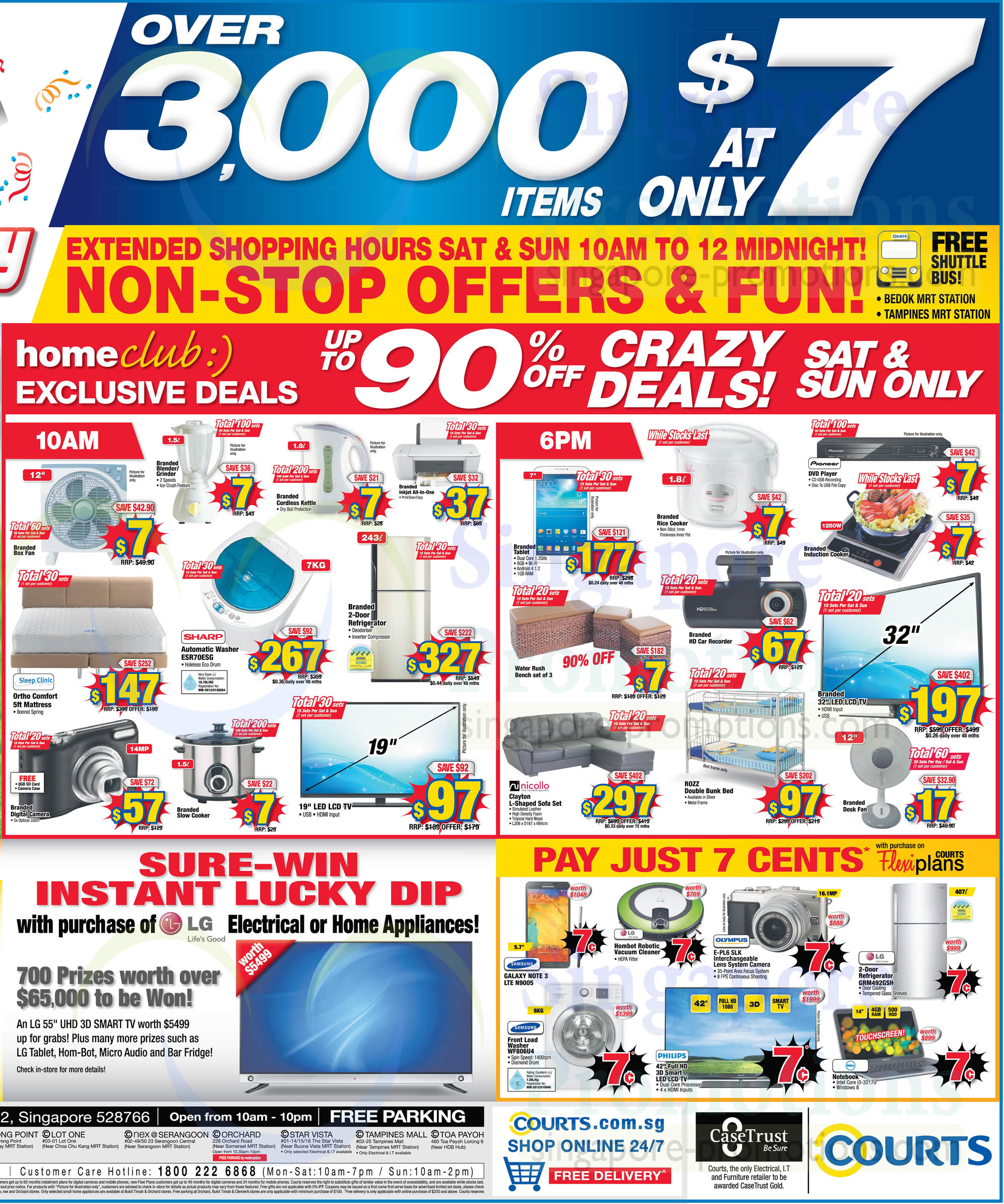 Home Club Exclusive Offers, Sure Win Lucky Dip, 7 Cents Offers