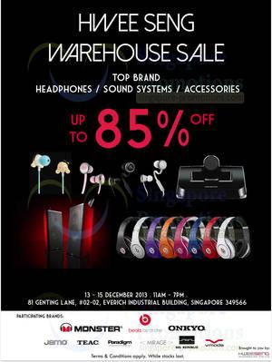 Featured image for Hwee Seng (Beats, Monster, Onkyo, etc) Warehouse SALE 13 – 15 Dec 2013