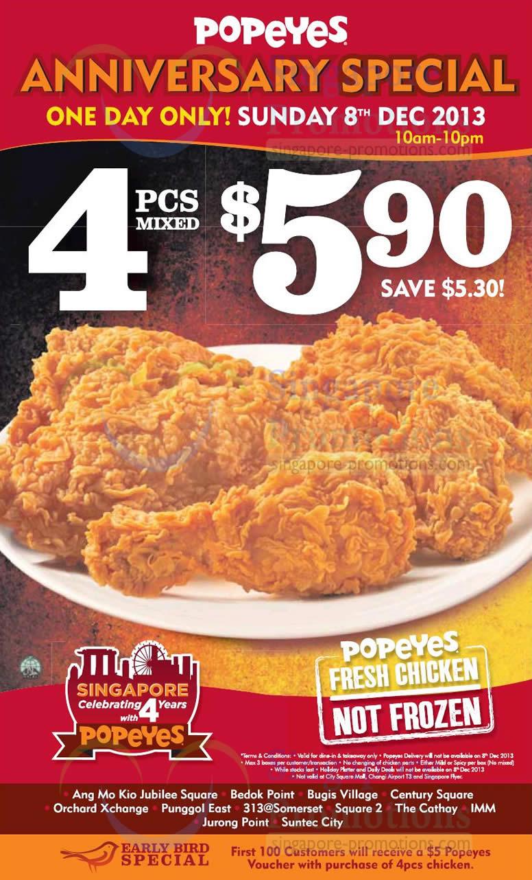 Popeyes 5 90 4pcs Chicken One Day Anniversary Promo 8 Dec