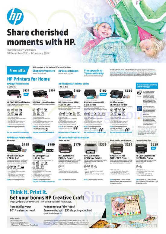 HP Envy 4500 Printer, HP Envy 120 Printer, HP Photosmart 5520 Printer, HP Photosmart 6520 Printer, HP Photosmart 7520 Printer, HP Officejet 4620 Printer, HP Officejet 6600 Printer, HP LaserJet P1102w Printer, HP LaserJet CP1025nw Printer, HP LaserJet M1132 Printer and HP LaserJet M176n Printer