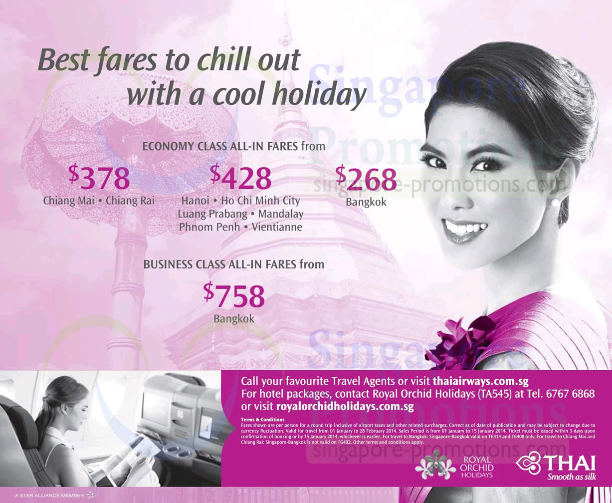 Thai Airways Promotion Air Fares 1 – 15 Jan 2014