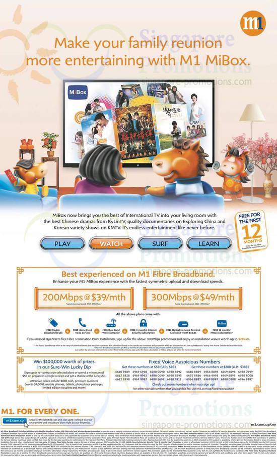 Fibre Broadband 200Mbps 39.00, 300Mbps 49.00, MiBox