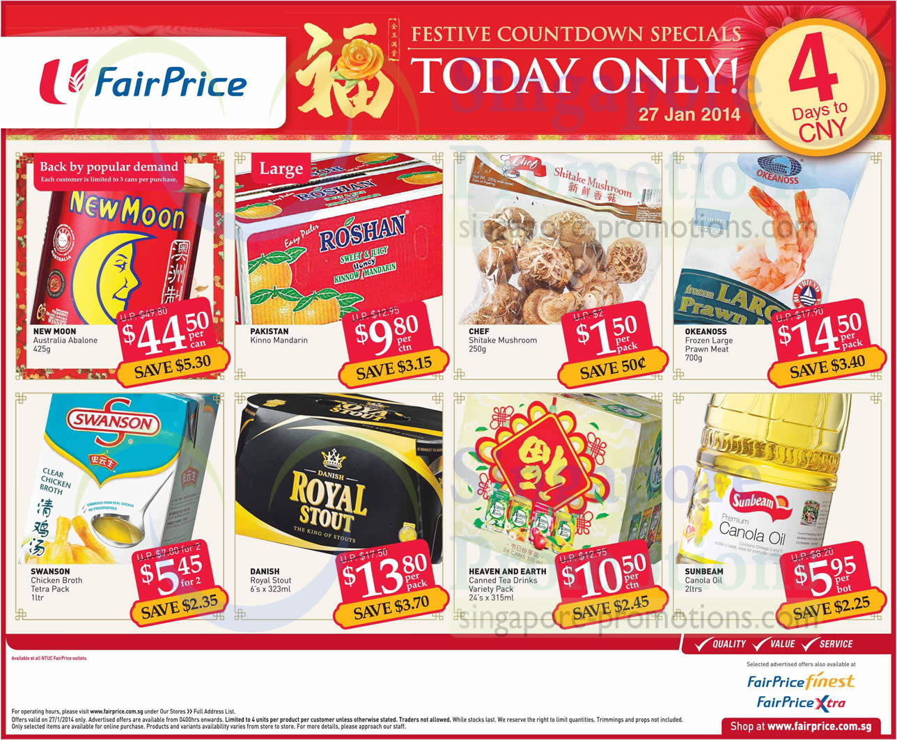 Ntuc Fairprice Abalone Amp Other Cny One Day Offers 27 Jan 2014