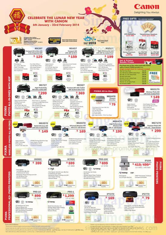 Canon MX397 Printer, Canon MX457 Printer, Canon MX527 Printer, Canon MX727 Printer, Canon MX927 Printer, Canon MG3170 Printer, Canon MG7170 Printer, Canon MG6470 Printer, Canon MG2470 Printer, Canon MG5570 Printer, Canon MG3570 Printer, Canon iX6560 Printer, Canon iX7000 Printer, Canon PRO-100 Printer, Canon iP100 Printer, Canon iP2770 Printer, Canon iP7270 Printer, Canon PRO-1 Printer and Canon PRO-10 Printer