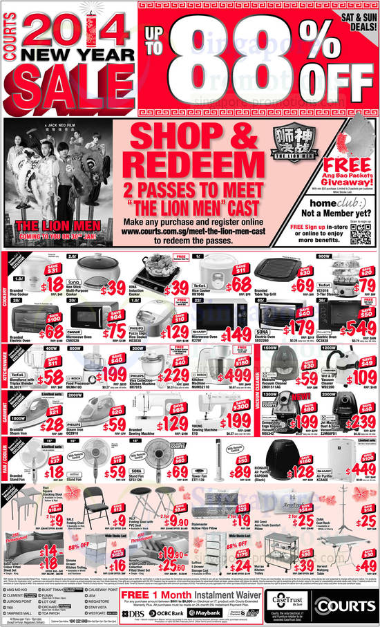 Tefal RK1046 Rice Cooker, Tefal VC1016 Steamer, Cornell CM0S28 Oven, Philips HD3038 Rice Cooker, Sharp R279T Oven, Sona SEO2260 Oven, Rowenta OC3838 Oven, Tefal BL3071 Blender, Bosch MCM4100 Food Processor, Philips HR7915 Kitchen Machine, Bosch MUM52110 Kitchen Machine, Philips GC2910 Iron, Viking E10 Sewing Machine, Electrolux ZMO1511AG Vacuum Cleaner, Karcher WD2200 Vacuum Cleaner, Rowenta RO5342 Vacuum Cleaner, Electrolux ZJM68FD1 Vacuum Cleaner, Sona SFS1126 Fan, EuropAce ETF1139 Fan, Bionaire BAP600B Air Purifier and Sharp KCA40E Air Purifier