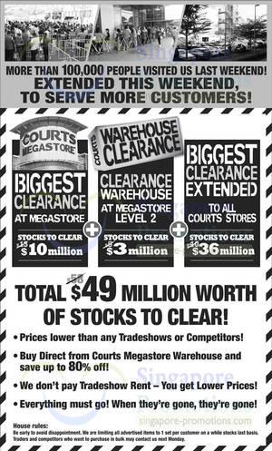 Featured image for Courts Biggest Clearance Offers @ All Outlets 22 – 23 Feb 2014