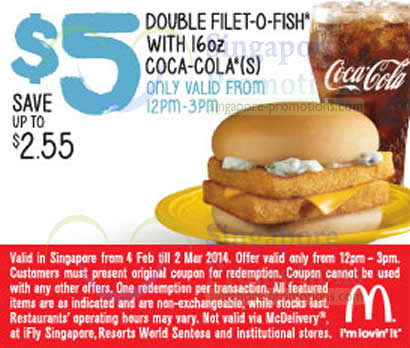 Double filet o fish with 16oz coca cola 12pm 3pm for Mcdonalds filet o fish deal