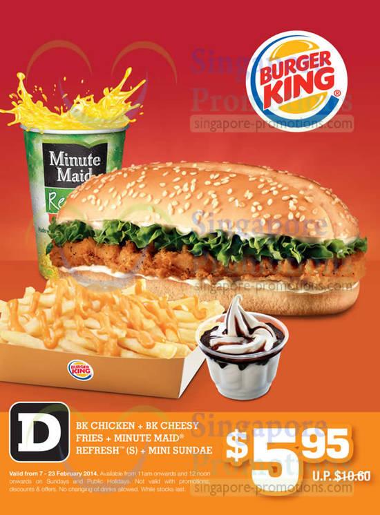 5.95 BK Chicken, BK Cheesy Fries, Minute Maid Refresh, Mini Sundae