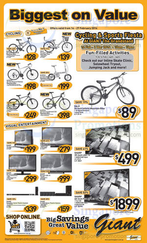 Featured image for Giant Hypermarket TVs, Bicycles & Home Theatre Systems Offers 14 – 27 Feb 2014