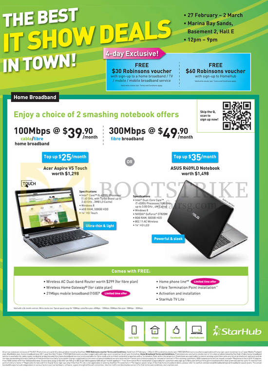 Broadband Cable Fibre 100Mbps 39.90, 300Mbps 49.90, Notebooks Acer Aspire V5 Touch, ASUS R409LD Noteobok