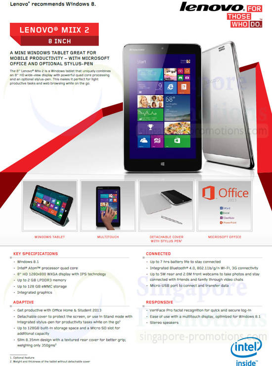 Miix 2 Features, Specifications
