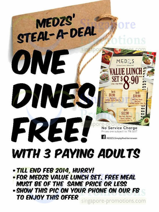 One Dines Free Coupon