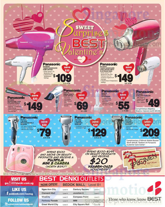 Panasonic EH-NA30 Hair Dryer, Panasonic EH-NA45 Hair Dryer, Panasonic EH5573 Hair Dryer, Panasonic EH-HS95 Straightener, Panasonic EH2513 Pore Cleanser, Panasonic EH-SE60 Eyelash Curler, Panasonic ES-ST25 Shaver, Panasonic ES-LT20 Shaver, Panasonic ES-SL41 Shaver