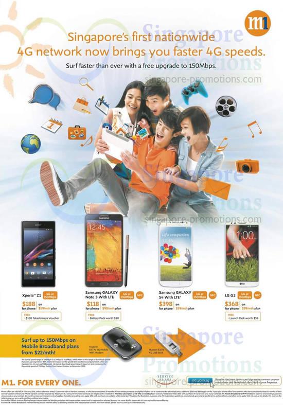 Sony Xperia Z1, Samsung Galaxy Note 3, Samsung Galaxy S4, LG G2