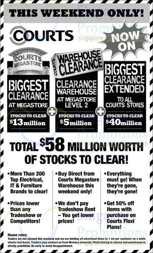 Featured image for Courts Biggest Clearance Offers @ All Outlets 15 – 16 Feb 2014