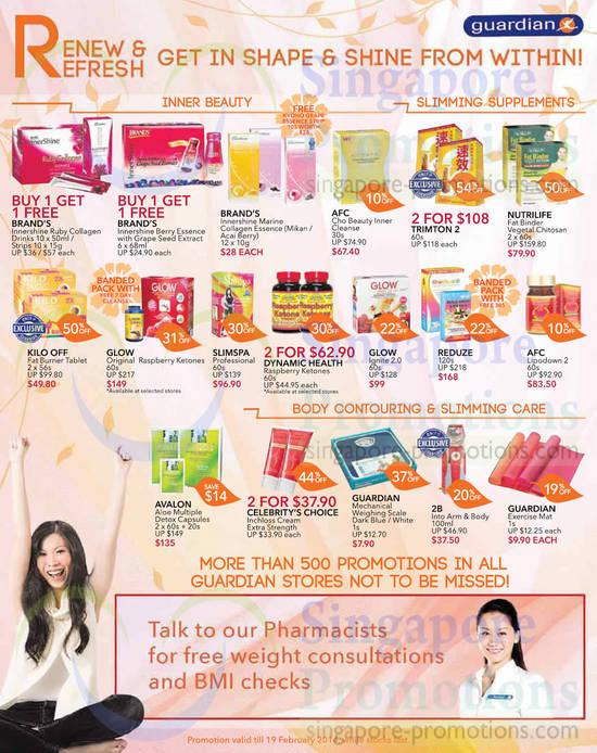 Weekly Offers, 1 For 1, Brands, AFC, Trimton, Nutrilife, Kilo Off, Glow, Slimspa, Reduze, Avalon, Celebritys Choice
