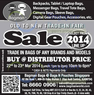 Featured image for Bagman Bags Old to New Trade-In Fair @ Oxley Bizhub 22 – 23 Mar 2014