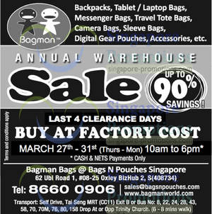 Featured image for Bagman Bags Annual Warehouse SALE @ Oxley Bizhub 2 27 – 31 Mar 2014