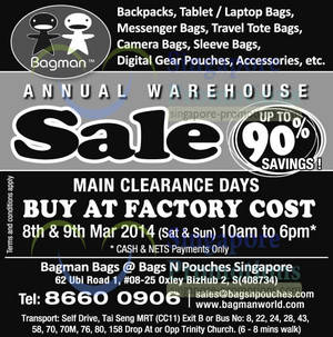 Featured image for Bagman Bags Annual Warehouse SALE @ Oxley Bizhub 2 8 – 9 Mar 2014