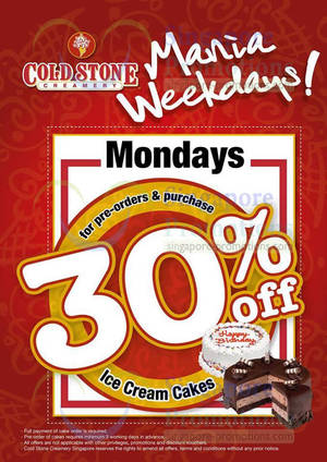 Featured image for Cold Stone Creamery 30% OFF Ice Cream Cakes Mondays Promo 31 Mar 2014