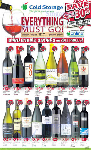 Featured image for Cold Storage Over 30% OFF Wine Offers 21 – 27 Mar 2014