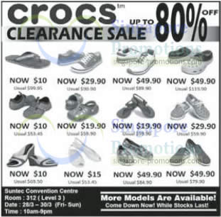 584490f21 Crocs Up To 80% OFF Clearance SALE   Suntec 28 – 30 Mar 2014