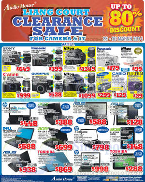 Featured image for Audio House Electronics, TV, Notebooks & Appliances Offers @ Liang Court 28 – 30 Mar 2014