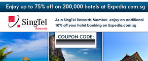 Featured image for Expedia 10% Off Hotels Coupon Code For Singtel Customers 31 Mar 2014